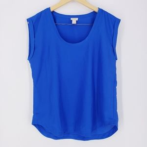 J. Crew Blue Drapey Scoopneck Top